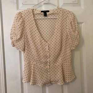 NWOT Forever 21 French style polka dot blouse